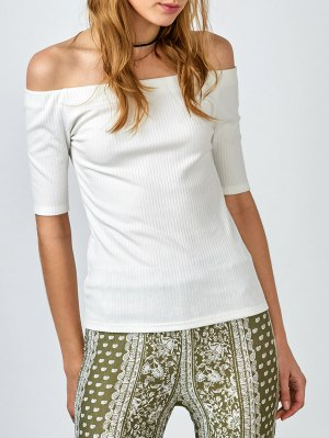 Ribbed Off The Shoulder Top - White