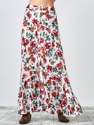 Button Up Floral Maxi Skirt - White