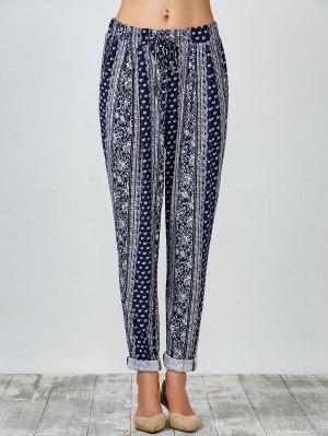 Paisley Print Carrot Pants - Blue