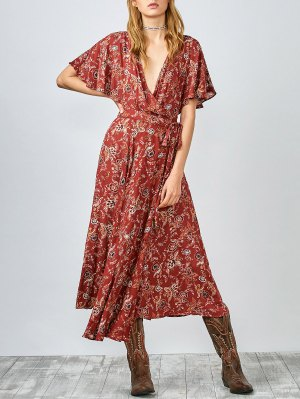 Flutter Sleeve Midi Wrap Dress - Rust Red 119#