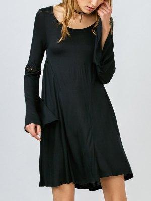 Bell Sleeve Flared Dress - Black