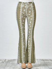Printed Flare Pants - Olive Green