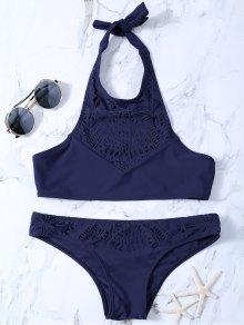 High Neck Laser Cut Bikini - Purplish Blue