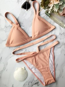 Padded Banded String Bikini - Pink