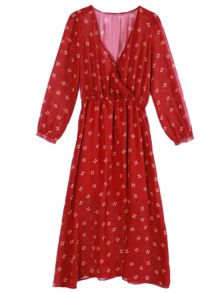 Printed Plunging Neck Chiffon Surplice Dress - Red L