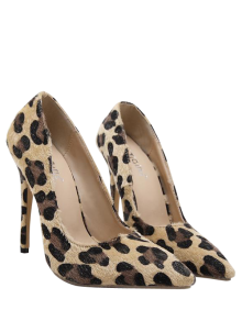 Mini Heel Leopard Print Pointed Toe Pumps - Leopard