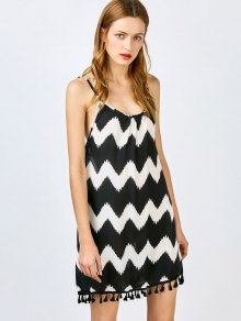 Zig Zag Spaghetti Straps Tassels Spliced Dress