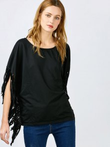 Skew Neck Fringed Black Blouse