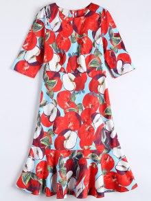 Ruffle Hem Midi Sheath Dress