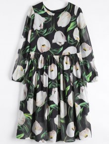 Long Sleeve Chiffon Floral Flowing Dress - Black