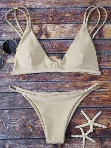 Bralette Bikini Top And String Bottoms - Khaki M