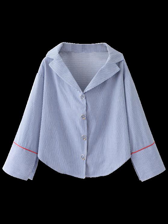 fashion Lapel Collar Striped Shirt - BLUE ONE SIZE