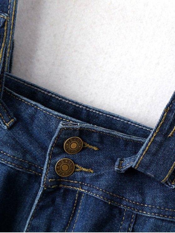 Suspender Denim Skirt - DEEP BLUE M Mobile