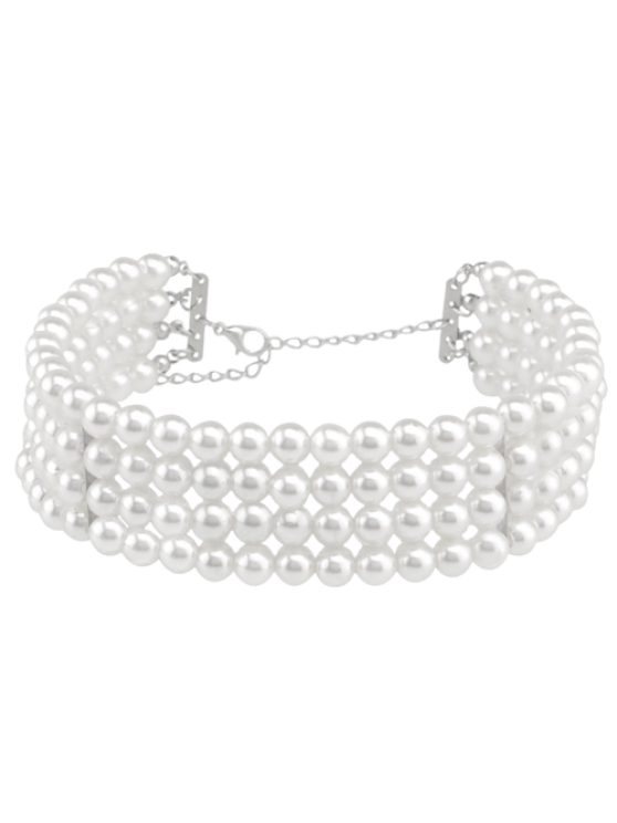 chic Artificial Pearl Multilayered Necklace - WHITE