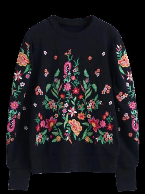 ladies Oversized Floral Embroidered Sweatshirt - BLACK M