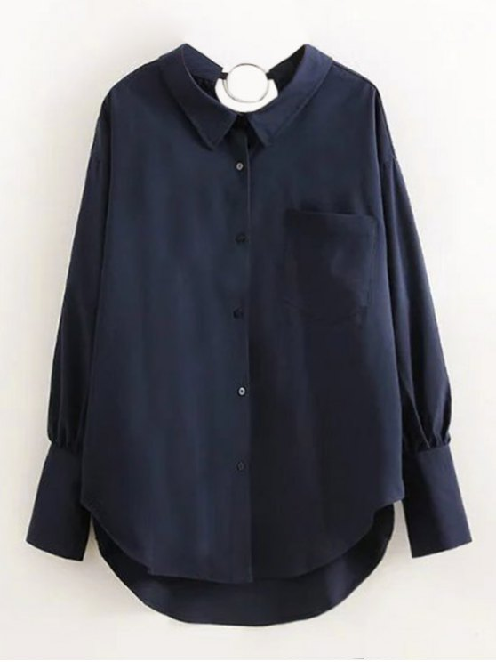 latest Boyfriend Metal Circle Pocket Shirt - PURPLISH BLUE L