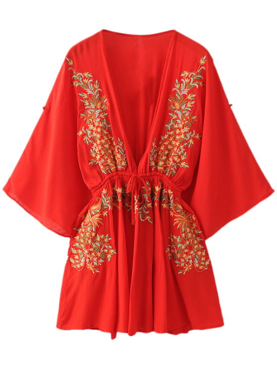 chic Bohemian Plunging Neck Embroidered Dress - RED L