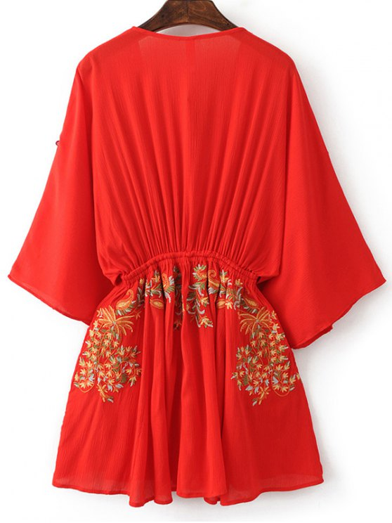 Bohemian Plunging Neck Embroidered Dress - RED S Mobile