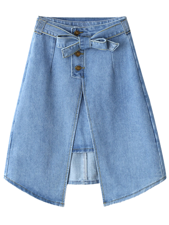 latest Bownot Front Slit Denim Skirt - LIGHT BLUE L