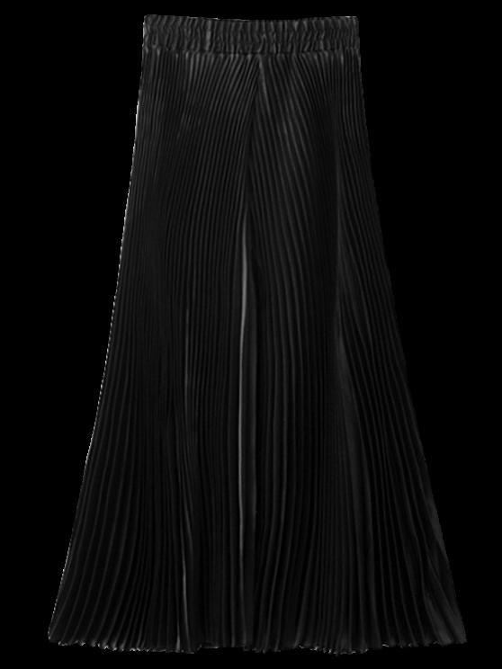 Pantalon capri plissé à jambes larges - Noir TAILLE MOYENNE