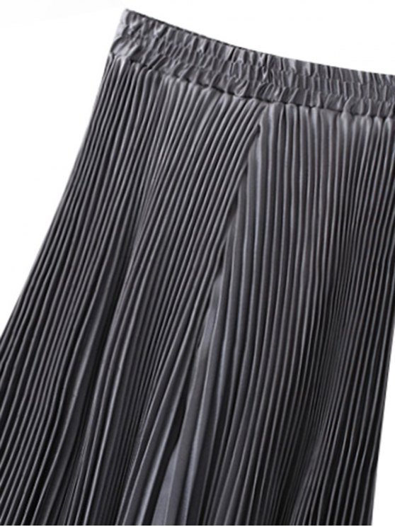 Pleated Capri Wide Leg Pants - SILVER GREY ONE SIZE Mobile