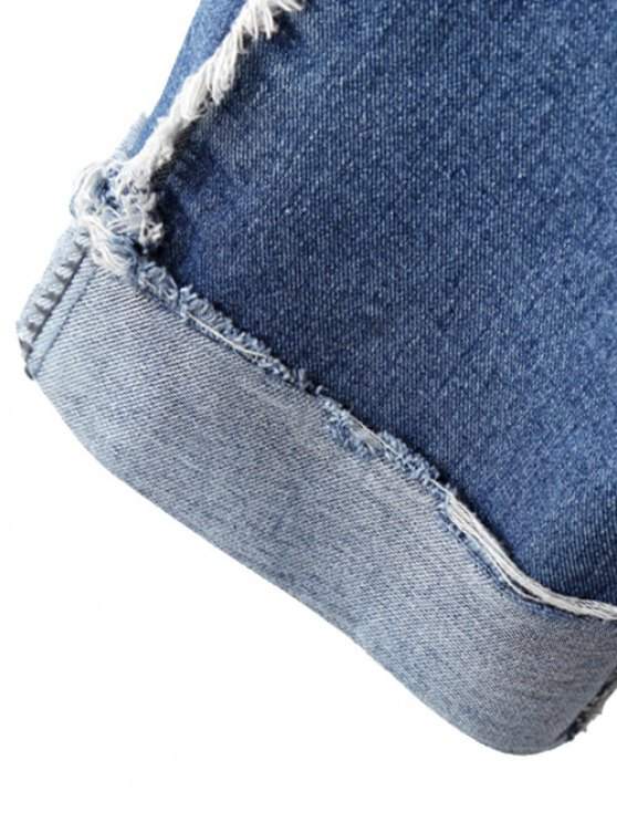 Cutoffs Cuffed Jeans - LIGHT BLUE M Mobile