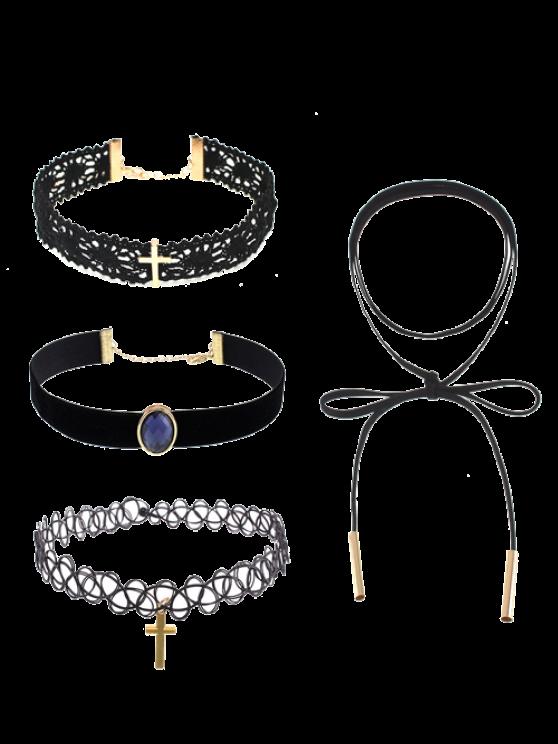 sale Faux Gem Lace Crucifix Choker Necklaces - BLACK