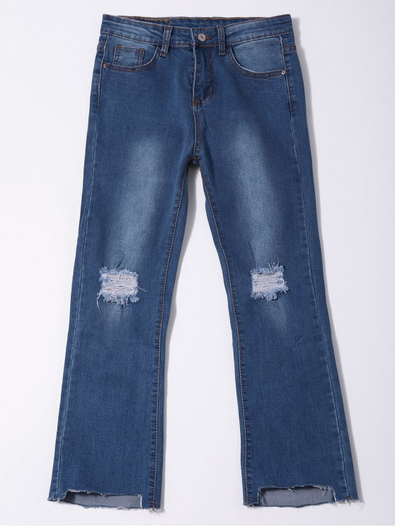 Distressed Asymmetric Hem Capri Jeans - DENIM BLUE S Mobile