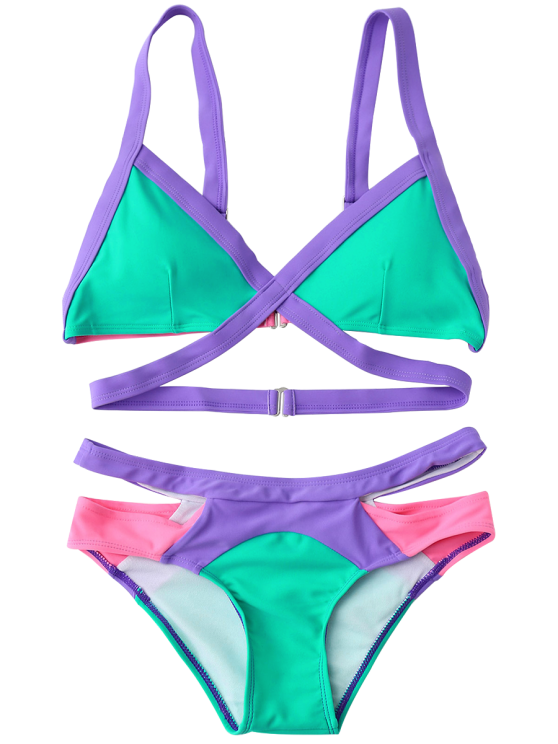 Strappy Color Block Banded Bikini Set - BLUE GREEN S Mobile