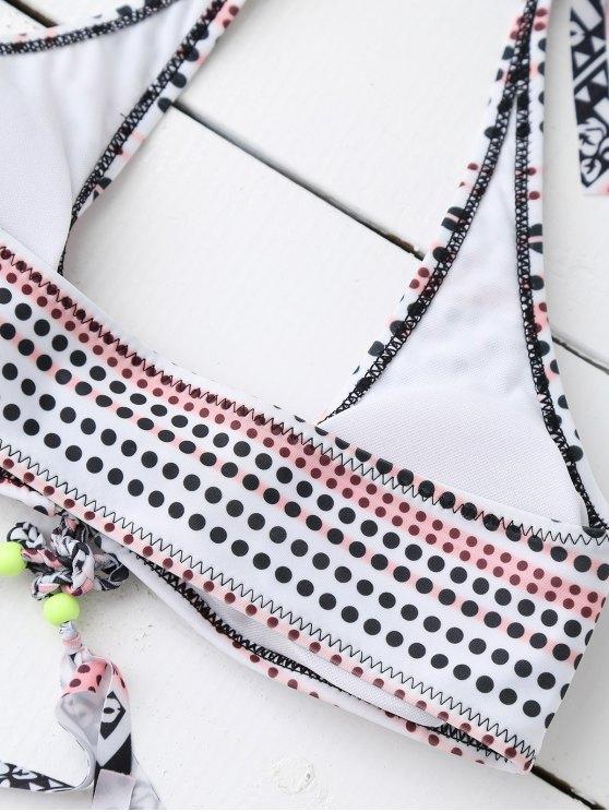 Polka Dot Padded Tie Side Bikini - WHITE XL Mobile