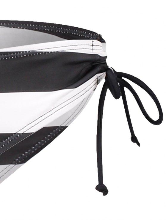 Striped Mesh Panel Tankini Set - BLACK XL Mobile