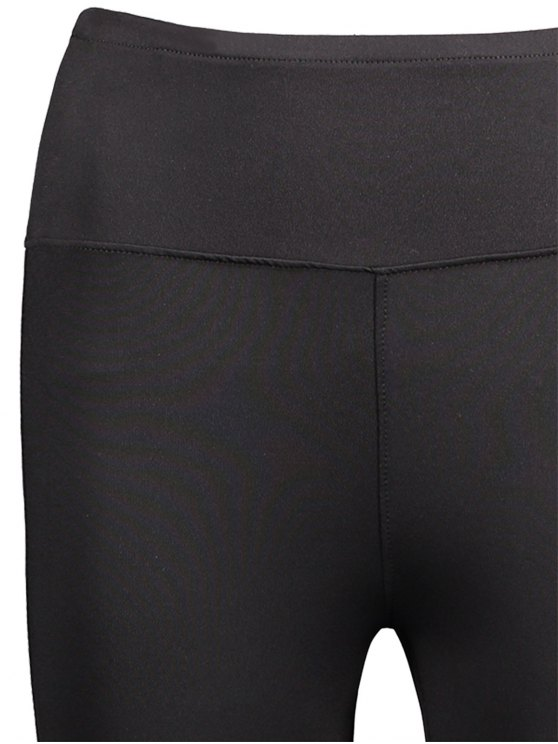 Mesh Panel Skinny Sports Leggings - BLACK L Mobile
