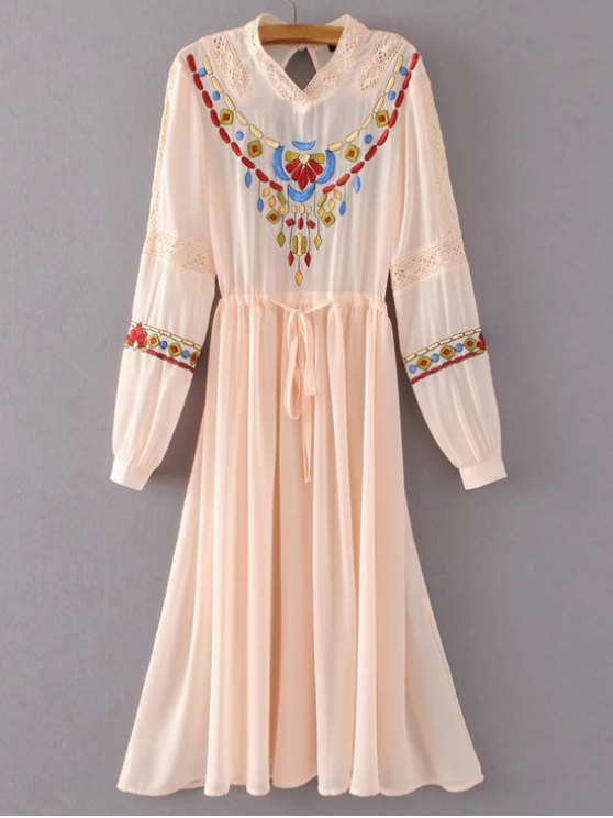 hot Belted Embroidered Long Sleeve Dress - PINK L