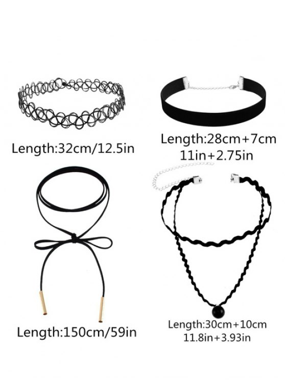 Faux Leather Velvet Tattoo Choker Necklaces - BLACK  Mobile