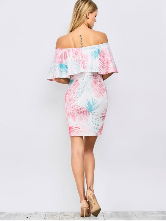 Off Shoulder Printed Bodycon Dress - FLORAL M Mobile