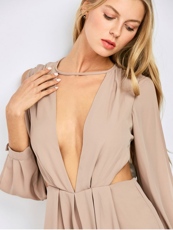 Split Sleeve Plunging Neck Cut Out Romper - PINKBEIGE 2XL Mobile
