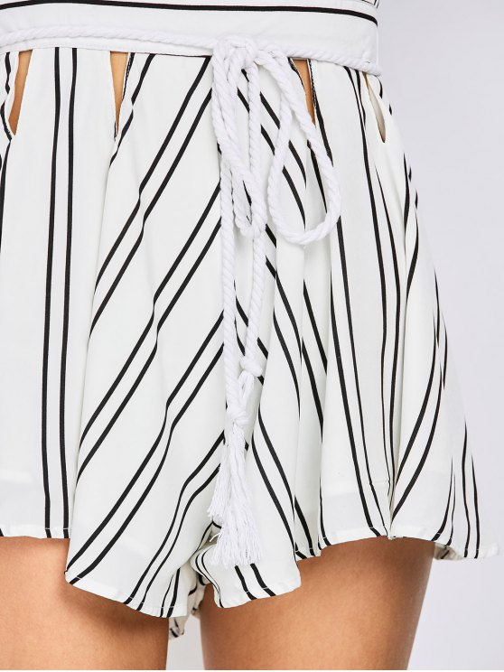 Striped Flutter Sleeve Plunge Playsuit - WHITE XL Mobile