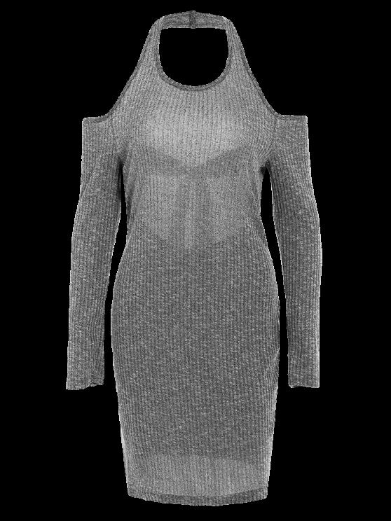 Knitting Bowknot Bodycon Dress - GRAY L Mobile