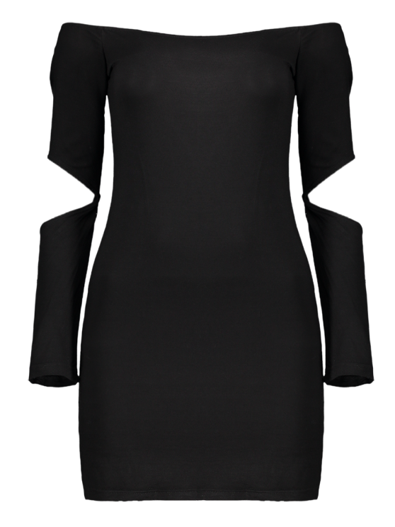 Bodycon Off The Shoulder Long Sleeve Party Dress - BLACK M Mobile