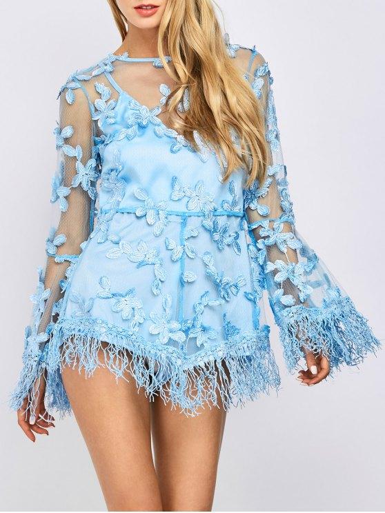 chic Fringed Floral Applique Sheer Romper - LIGHT BLUE S
