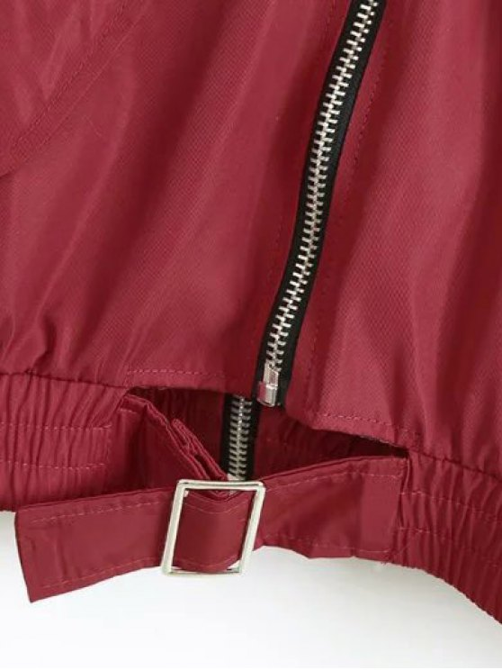 Double Zipper Bomber Jacket - CLARET M Mobile
