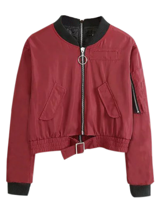 fashion Double Zipper Bomber Jacket - CLARET L