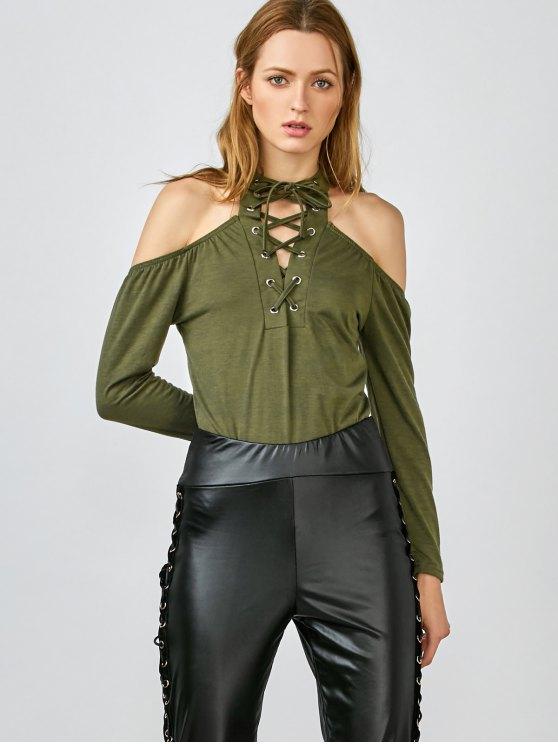 Long Sleeve Lace-Up Cold Shoulder Bodysuit - GREEN XL Mobile