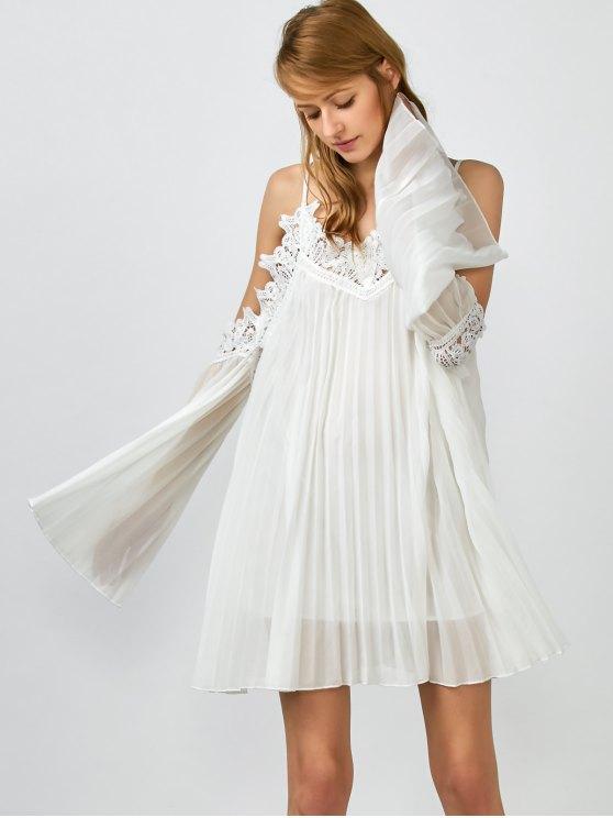 shops Lacework Pleated Cami Dress - WHITE M