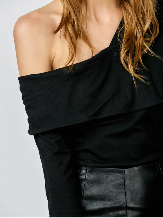 One Shoulder Ruffles Bodysuit - BLACK M Mobile