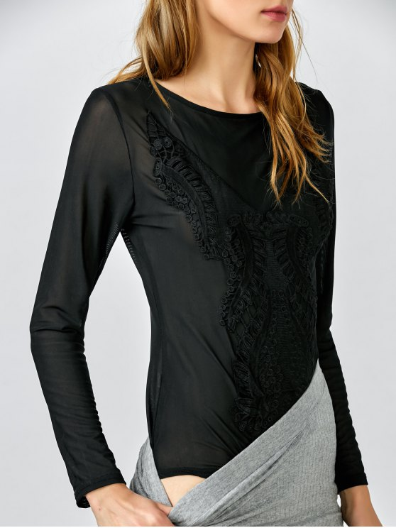 best Embroidered See Through Bodysuit - BLACK L