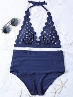 Laser Cut High Waisted Bikini - Purplish Blue Xl