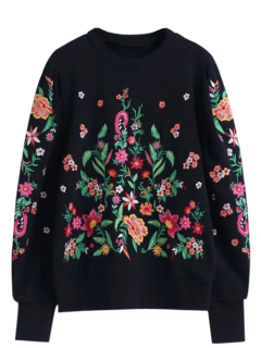 Oversized Floral Embroidered Sweatshirt - Black M