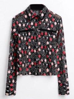 Chemise Transparente à Broderies Florales - Noir M
