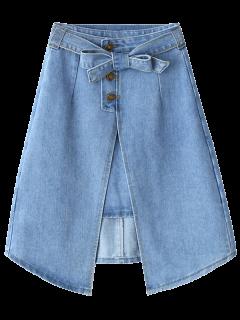 Bownot Front Slit Denim Skirt - Light Blue L